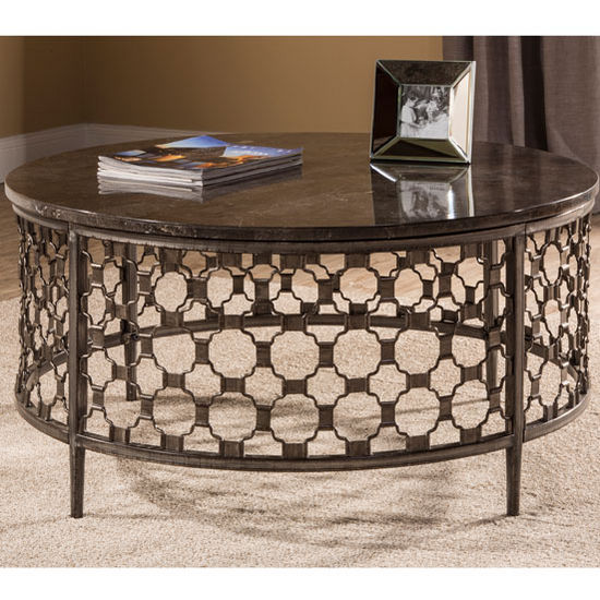 "Hillsdale Furniture Brescello Round Coffee Table in Charcoal / Blue Stone, 36"" W x 36"" D x 18"" H"