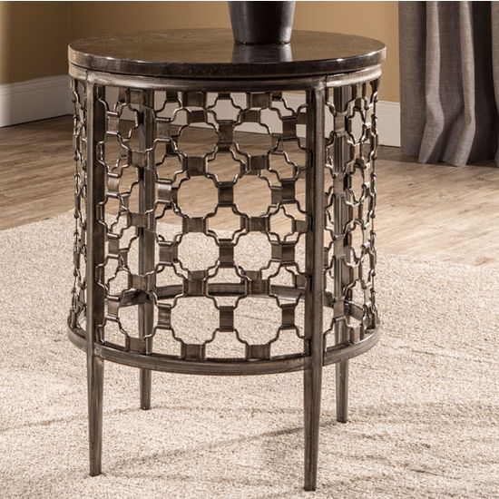 "Hillsdale Furniture Brescello Round End Table in Charcoal / Blue Stone, 18"" W x 18"" D x 24"" H"