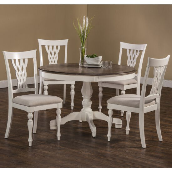 5pc Set Round Dinette Kitchen Table W 4 Microfiber: Hillsdale Furniture Bayberry / Embassy Dining Set With