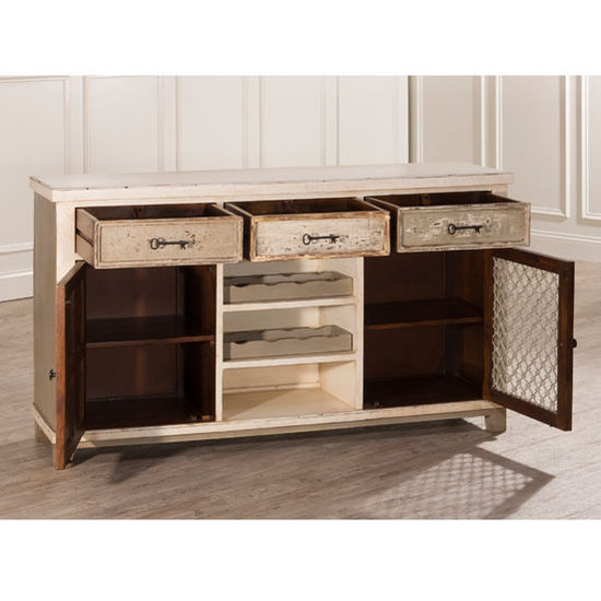 Larose console table with 2 doors storage 3 drawers for Sofa table with drawers and doors