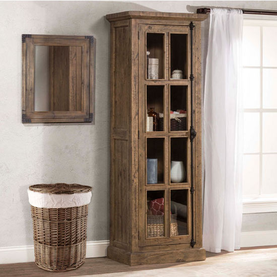 """Hillsdale Furniture Tuscan Retreat ® Collection Tall Single Door Cabinet in Aged Gray, 28-1/2"""" W x 18"""" D x 80"""" H"""