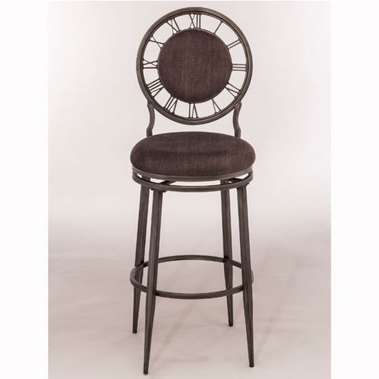 Hillsdale Furniture Big Ben Swivel Counter or Bar Stool in Pewter Finish and Ash Fabric