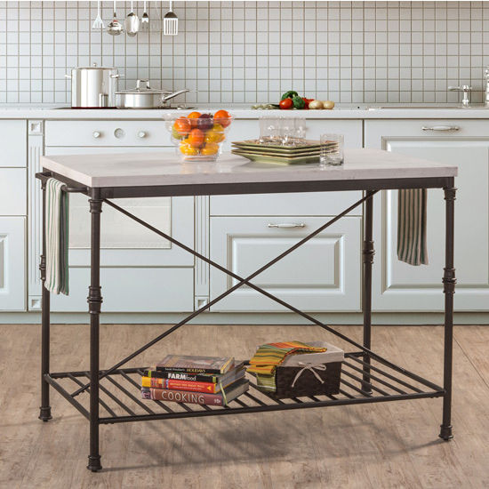 Castille Metal Kitchen Island, Textured Black with White Marble Top ...