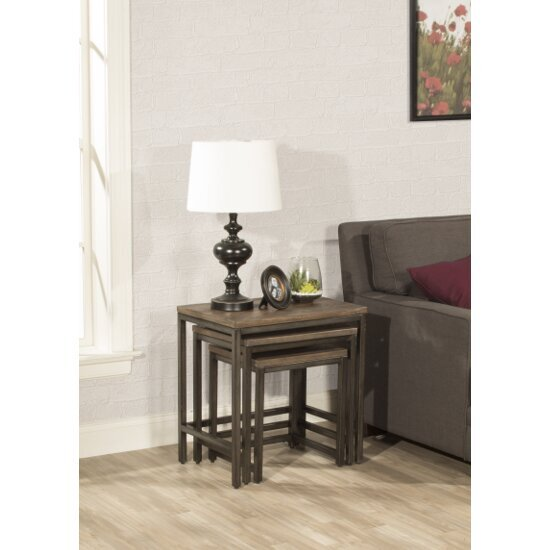 """Hillsdale Furniture Castille Set of 3 Nesting Tables in Textured Black / Distressed Walnut Finish and Black Fabric, 24"""" W x 16"""" D x 24-1/4"""" H"""