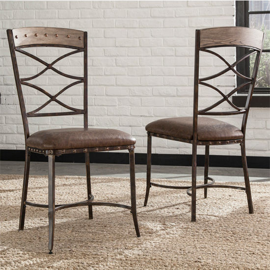 Hillsdale Furniture Emmons Dining Chair, Set of 2, Washed Gray & Brown Faux Leather