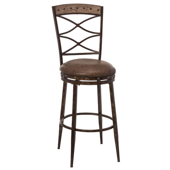 Hillsdale Furniture Emmons Swivel Counter Stool, Washed Gray with Brown Faux Leather Seats