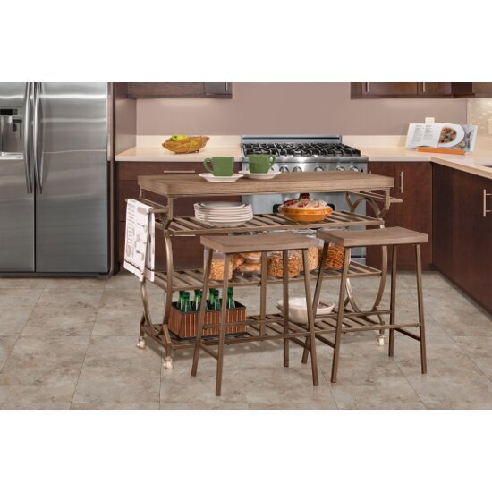 3-Piece Kitchen Cart Set w/ 2 Kennon Stools