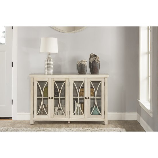 "Hillsdale Furniture Bayside (4) Door Cabinet in Antique White Finish, 52-5/8"" W x 11-1/2"" D x 33"" H"