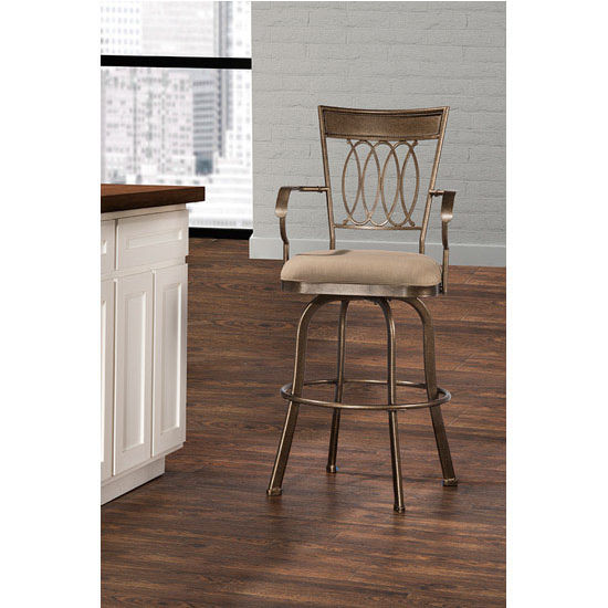 Hillsdale Delk Indoor / Outdoor Swivel Stool, Gold Bronze Finish