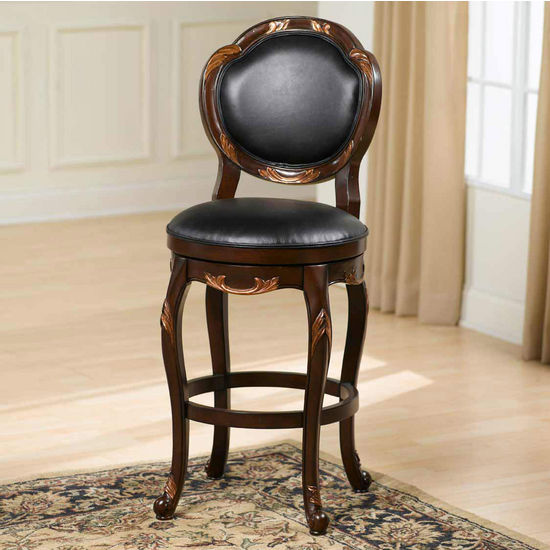 Hillsdale Furniture Alaina Swivel Counter Stool, Distressed Cherry with Copper Highlights Finish, Black leather Seat