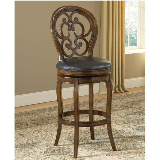 Hillsdale Furniture Alexandra Swivel Counter Stool, Dark Tobacco Finish, Black leather Seat