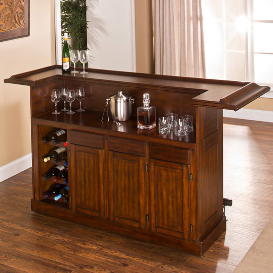 Hillsdale Furniture Classic Collection Large Bar in Brown Cherry, 26-1/2'' W x 78'' D x 43'' H