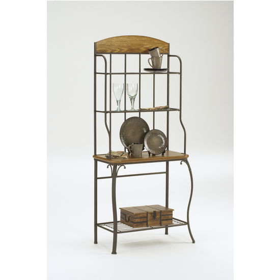 Wood Lakeview Baker's Rack in a Coppery Brown Metal Finish with Medium Oak Wood Accents by Hillsdale Furniture