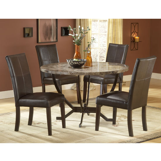 Monaco Matte Espresso 5-Piece Dining Set with Faux Marble Table Top by Hillsdale Furnitur