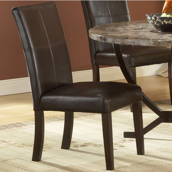 Monaco Matte Espresso Side Parson Chairs with Brown Leather Seats by Hillsdale Furniture