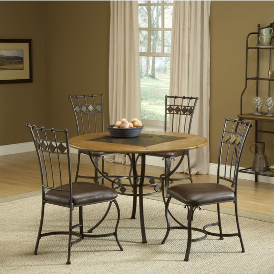 5-Piece Lakeview Round Dining Sets with Slate Chairs & Wood Chair by Hillsdale Furniture