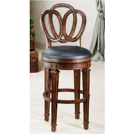 Hillsdale Furniture Dover Counter or Bar Height Stool in Distressed Cherry with Black Leather Seat
