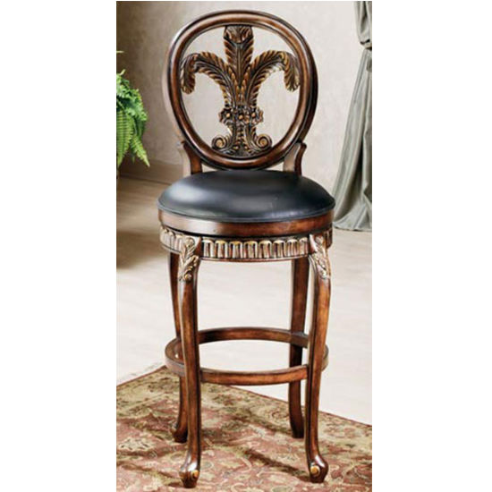 Hillsdale Furniture Fleur De Lis Counter or Bar Height Stool in Island Vanity Finish with Leather Seat