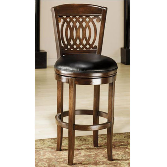 Hillsdale Furniture Vienna Swivel Counter or Bar Height Stool with Tobacco Finish and Black Leather Seat 24""