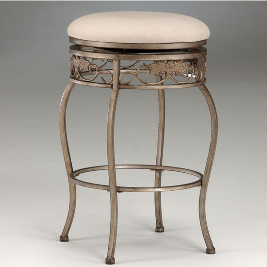 Hillsdale Furniture Backless Bordeaux Swivel Counter or Bar Height Stool in Bronze Pewter Finish
