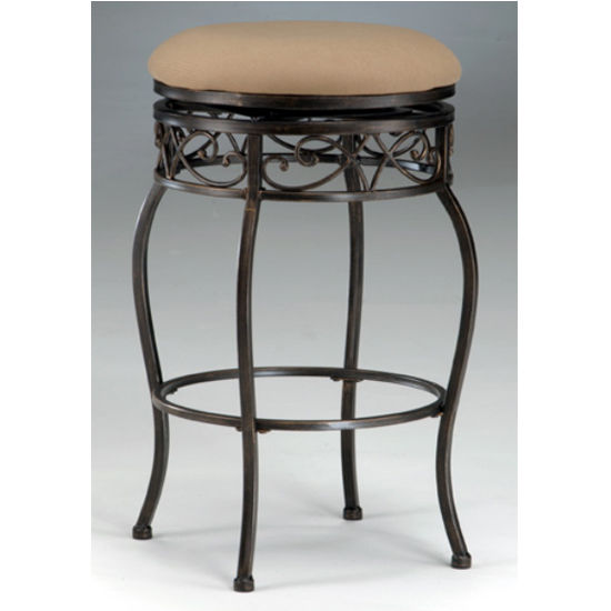 Hillsdale Furniture Backless Lincoln Swivel Counter or Bar Height Stool in Black Gold Finish
