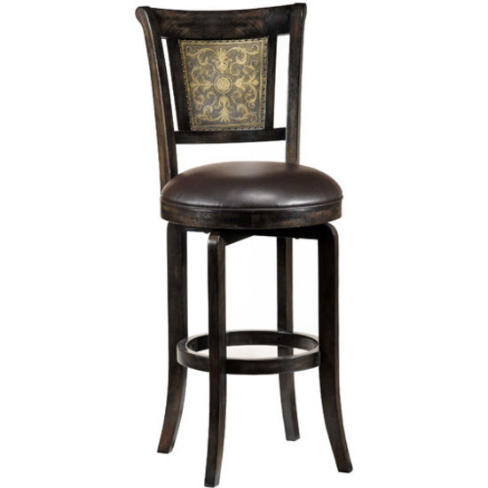 "Hillsdale Furniture Camille Swivel Counter or Bar Height Stool, 24-1/2"" W x 22"" D x 42-3/4"" H or 46-3/4"" H"