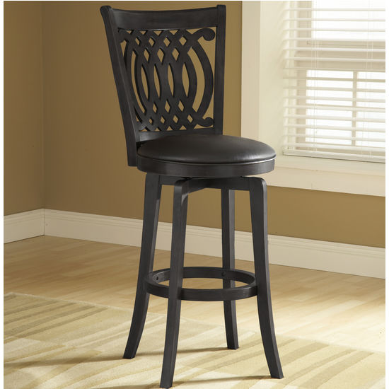 Hillsdale Furniture Van Draus Wood Counter Stool w/ Black Frame & Seat