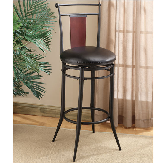"Hillsdale Midtown Swivel, 30"" H Wood Back Counter or Bar Height Stool"