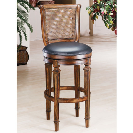 Hillsdale - Dalton Cane Back Counter or Bar Height Stool with Leather Seat, Distressed Cherry