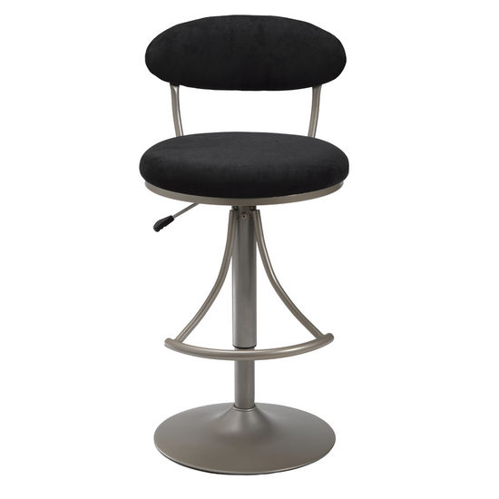 Hillsdale Furniture Venus Swivel Bar Stool in Silver Finish with Black Suede Seat