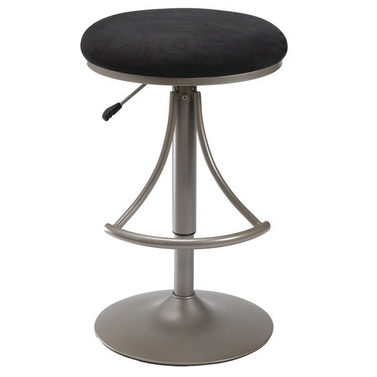Hillsdale Furniture Venus Backless Swivel Bar Stool with Silver Powder Coat Finish and Black Suede Seat