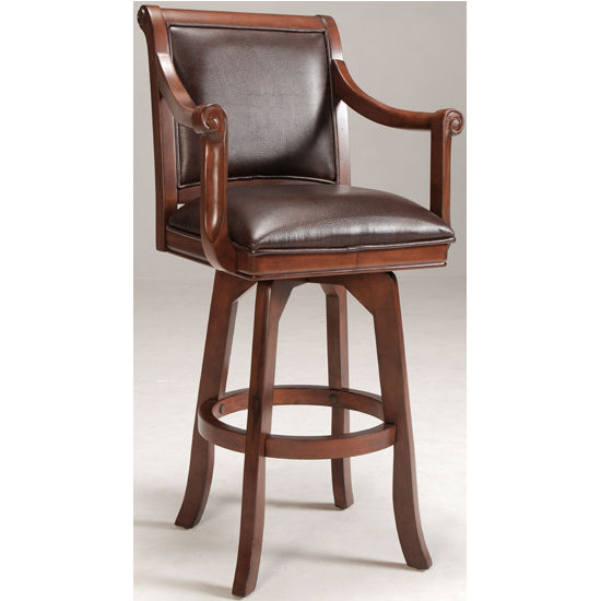 "Hillsdale Palm Springs Swivel Bar Stool, 24"" W x 22"" D x 45"" H, Medium Brown Cherry"