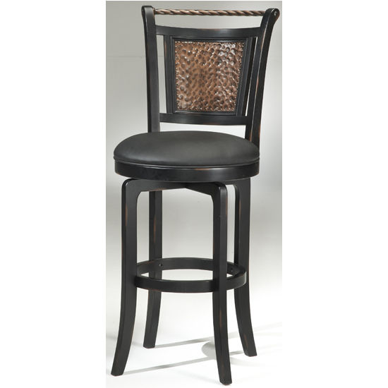 "Hillsdale - Norwood Heights Swivel Counter Stool, 25"" W x 19 3/4"" D x 43 1/2"" H, Black & Copper"