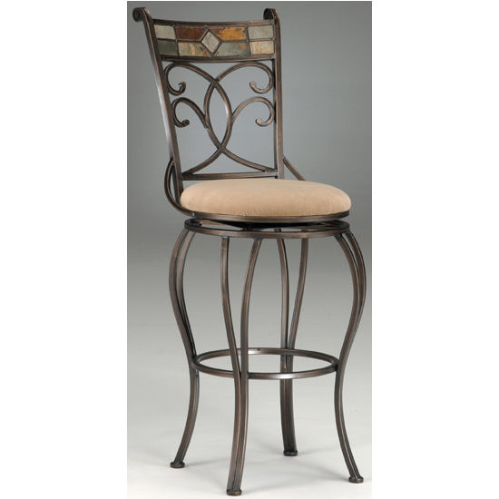 Hillsdale - Pompei Swivel Counter or Bar Height Stool, Black Gold