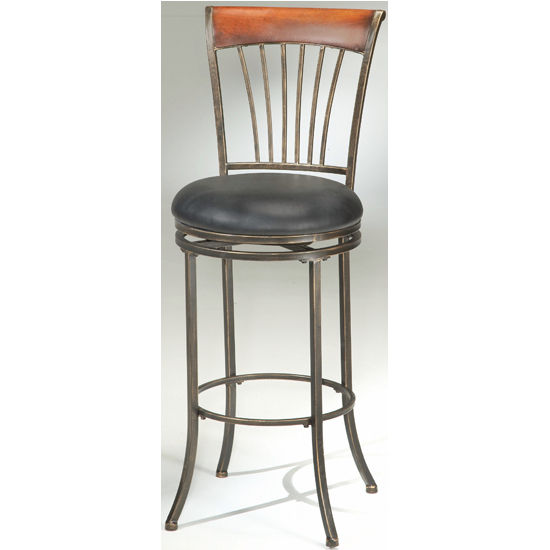 Hillsdale - Riley Swivel Counter or Bar Height Stool, Black Gold/Brown Cherry