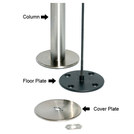 Table Bases Eclipse Stainless Steel Bolt Down Surface