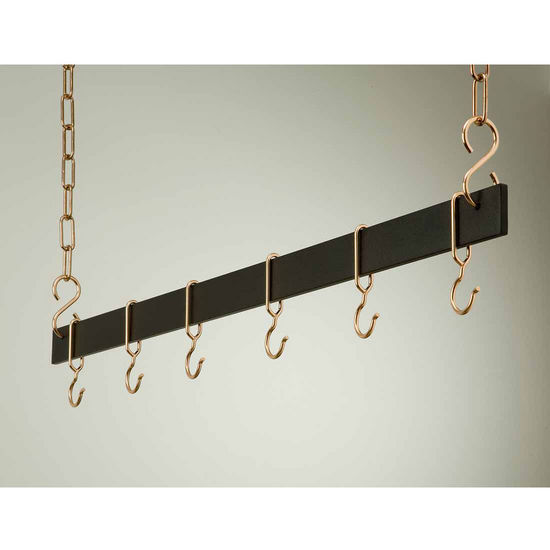 "Rogar 42"" Hanging Bar Pot Rack in Black"