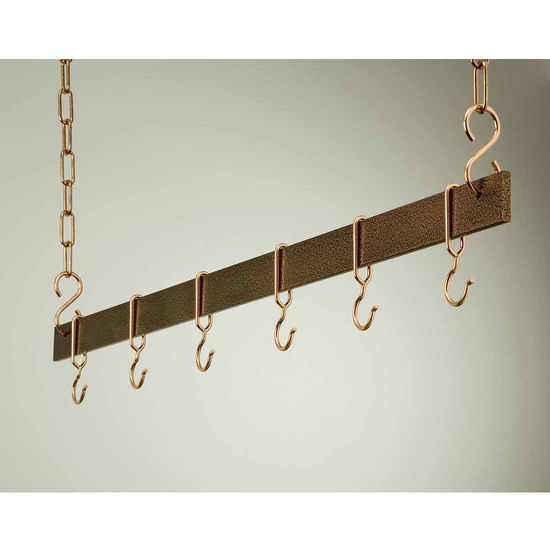 "Rogar 42"" Hanging Bar Pot Rack in Hammered Copper"