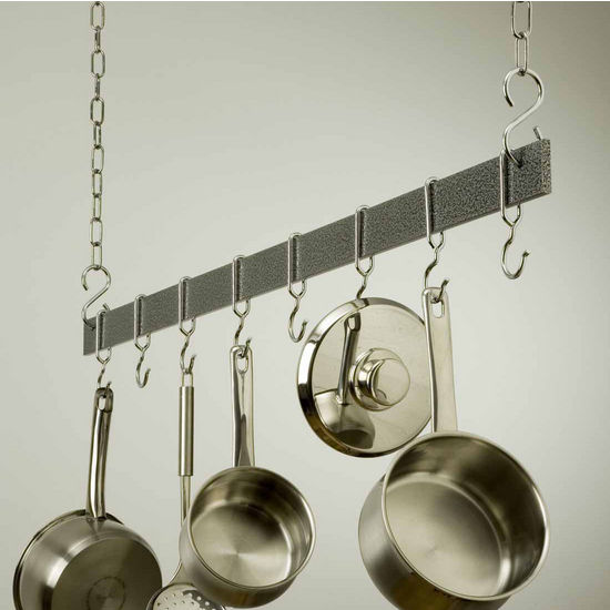 "Rogar 48"" Hanging Bar Pot Rack in Hammered Steel"