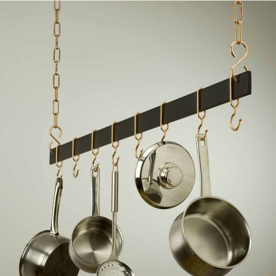 "Rogar 48"" Hanging Bar Pot Rack in Black"