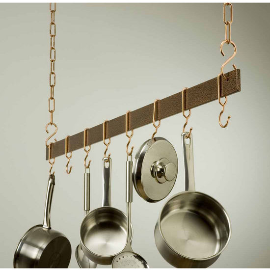 "Rogar 48"" Hanging Bar Pot Rack in Hammered Copper"