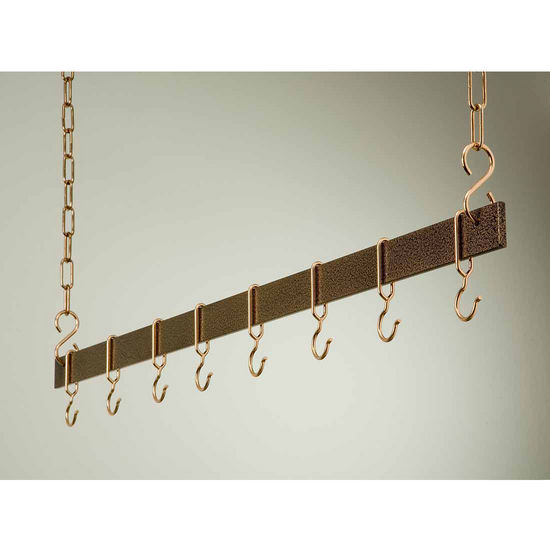 "Rogar 54"" Hanging Bar Pot Rack in Hammered Copper"