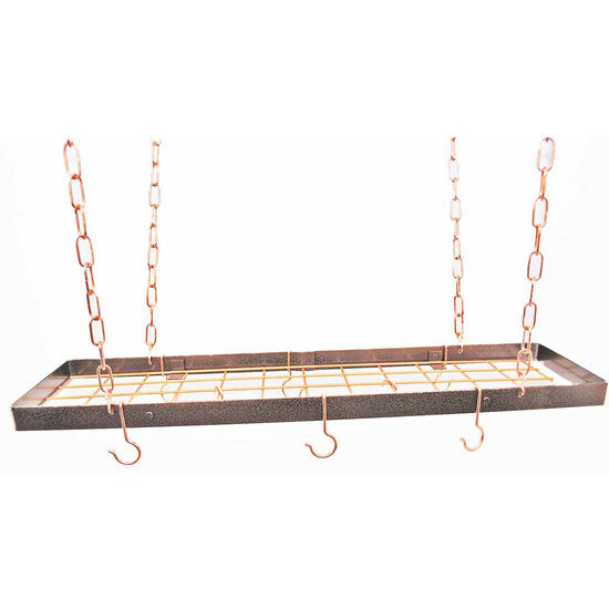 Hammered Copper Hanging Rectangular Pot Rack with Grid