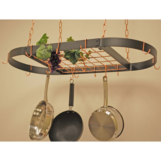 Black Medium Oval Hanging Pot Rack