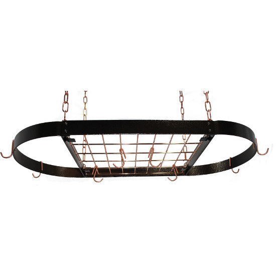 Hammered Copper Medium Oval Hanging Pot Rack