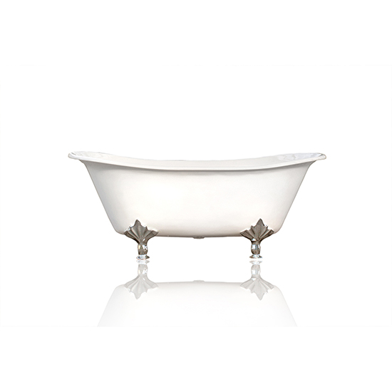 "White 67"" Antique Inspired Double Slipper Cast Iron Porcelain Clawfoot Bathtub Package, Chrome Deco Feet"