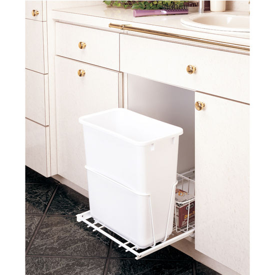 rev a shelf single bin pull out waste container with rear. Black Bedroom Furniture Sets. Home Design Ideas
