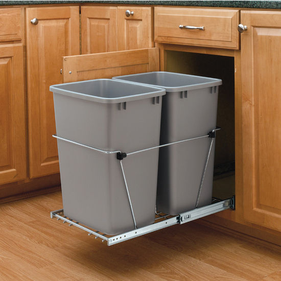 Black Kitchen Bin Sale: Rev-A-Shelf Double Pull-Out Waste Containers
