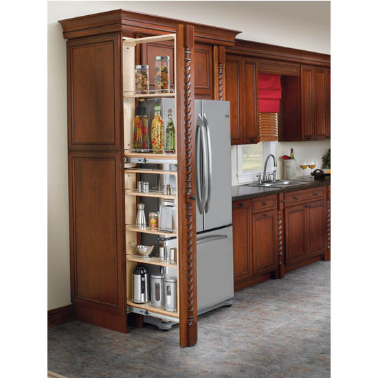 Tall Cabinet Filler Organizers Each Unit Features Adjule Shelves With Chrome Rails By Rev A Shelf Kitchensource