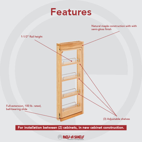 Kitchen Wall Cabinet Filler Pull-Out Organizers By Rev-A-Shelf